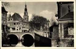 Foto Ak Alkmaar Nordholland Niederlande, Streenenbrug, Brücke, Kirchturm