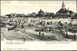 Postcard Świnoujście Swinemünde Pommern, Strandpartie mit Konversationshaus