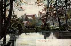 Postcard Ilsenburg Harz, Blick über den See auf das Schloss