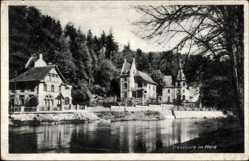 Postcard Treseburg Thale im Harz, Flusspartie mit Häusern