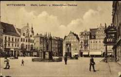 Postcard Lutherstadt Wittenberg in Sachsen Anhalt,Markt,Luther und Melanchthon Denkmal