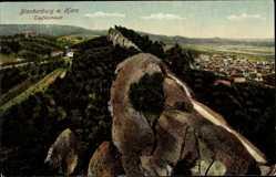 Postcard Blankenburg am Harz, Blick auf die Teufelsmauer und den Ort