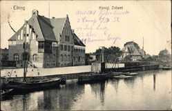 Postcard Elbląg Elbing Ostpreußen, Königliches Zollamt, Flusspartie