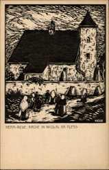 Künstler Ak Mikołów Nicolai Schlesien, Ansicht der Kirche, Kirchengänger