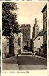 Postcard Oleśnica Oels Schlesien, Breslauer Tor, Straßenpartie