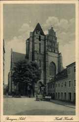 Postcard Strzegom Striegau Schlesien, Katholische Kirche, Platz