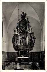 Postcard Myślibórz Soldin Pommern, Altar der Domkirche, Holzschnitt