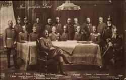 Postcard Aus großer Zeit, Kaiser Wilhelm II. von Preußen, Generalstab, Hindenburg