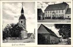 Postcard Wieskau Südliches Anhalt, Kirche, Gutshaus, Geschäft von Otto Kälterborn