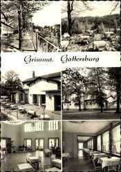 Ak Grimma in Sachsen, HO Gaststätte Gattersburg, Innenansicht, Terrassen