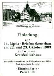 Ak Grimma in Sachsen, Marktplatz, Einladung Lipsia Briefmarkenschau 1983