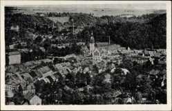 Ak Waldheim in Mittelsachsen, Gesamtansicht mit Blick auf das Rathaus