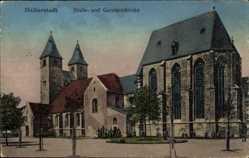Postcard Halberstadt in Sachsen Anhalt, Blick auf Pauls und Garnisonskirche