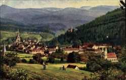 Künstler Ak Hoffmann, H.,Lichtental Baden Baden, Gesamtansicht der Stadt, Berge