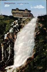 Postcard Riesengebirge, Elbfallbaude, Labská bouda, Wasserfall