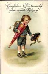 Präge Ak Glückwunsch Einschulung, Junge mit Zuckertüte, Mütze