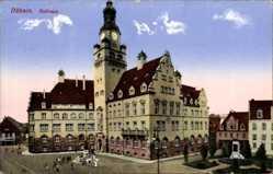 Postcard Döbeln in Mittelsachsen, Totalansicht vom Rathaus