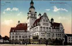 Postcard Döbeln in Mittelsachsen, Rathaus mit Schlegelbrunnen