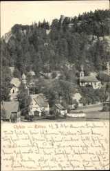 Postcard Zittau in der Oberlausitz, Teilansicht des Ortes mit Berg