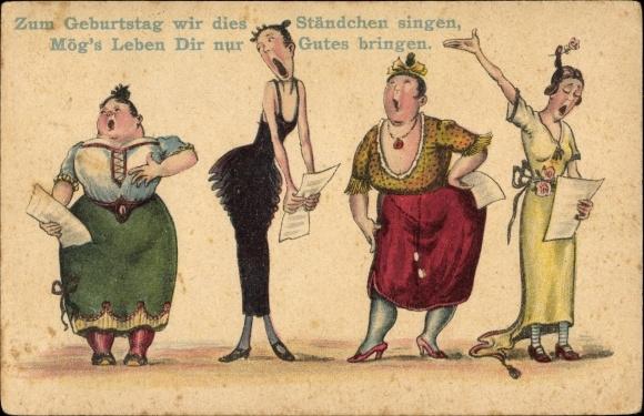 Postcard Gluckwunsch Geburtstag Vier Frauen Singen Akpool Co Uk