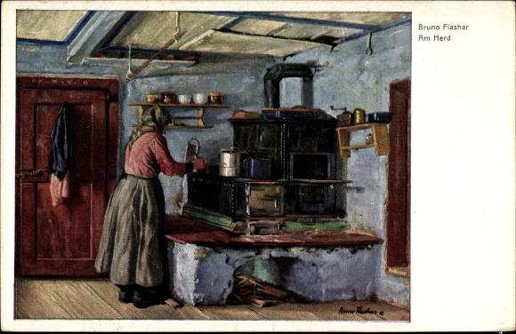 Künstler Ansichtskarte / Postkarte Flashar, Bruno, Am Herd, Bauernhaus,  Feuerstelle