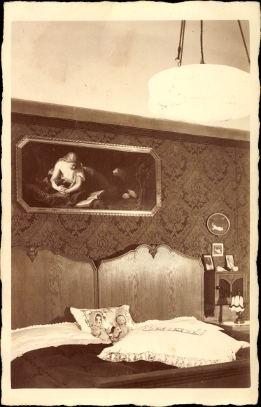 Foto Ansichtskarte / Postkarte Schlafzimmer im Jugendstil, | akpool.de