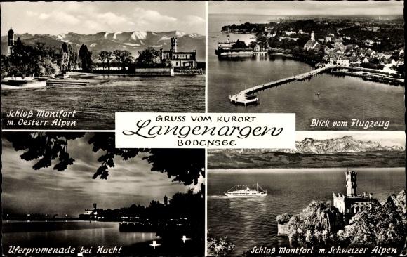 Alte Postkarte Uferpromenade Mit Schloß Montfort Langenargen