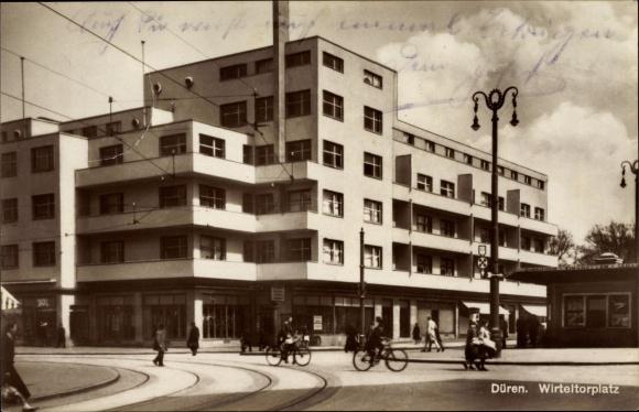 ansichtskarte postkarte d ren in nordrhein westfalen partie am wirteltorplatz fah. Black Bedroom Furniture Sets. Home Design Ideas