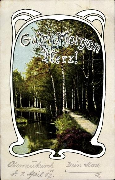 Jugendstil Ansichtskarte Postkarte Guten Morgen Herz