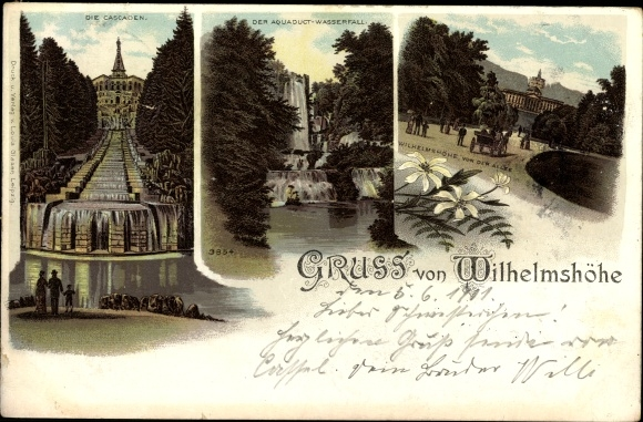 litho kassel in hessen wilhelmsh he aquaduct wasserfall kaskaden 1317096 ebay. Black Bedroom Furniture Sets. Home Design Ideas