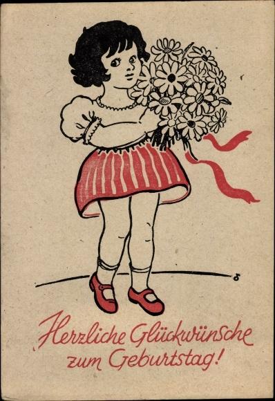 Vintage postkarte geburtstag