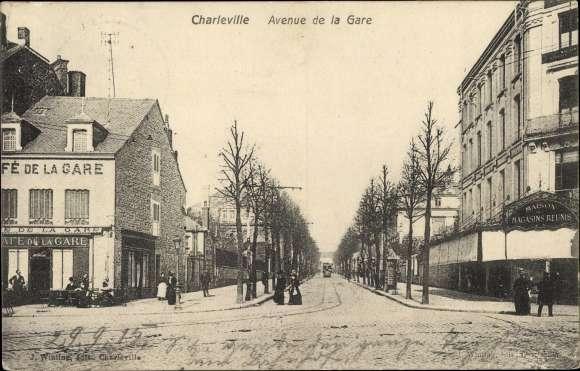 Ansichtskarte postkarte charleville m zi res ardennes avenue de la gare cafe de l - Magasin avenue de la gare luxembourg ...