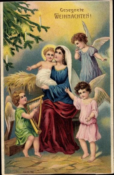 Weihnachten Krippe Bilder.Präge Ansichtskarte Postkarte Frohe Weihnachten Maria Akpool De