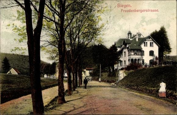 postcard siegen in nordrhein westfalen blick in die. Black Bedroom Furniture Sets. Home Design Ideas