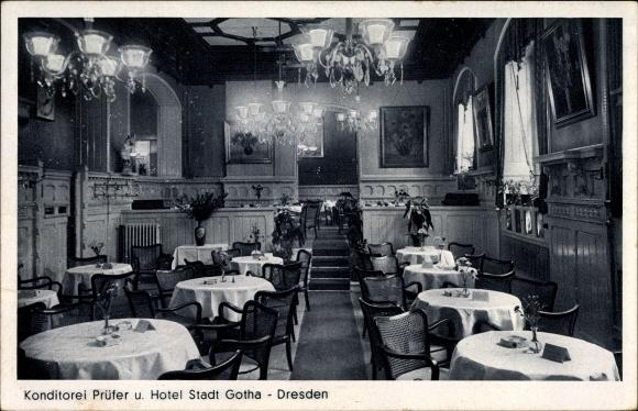 Postcard dresden zentrum konditorei pr fer und hotel for Dresden hotel zentrum