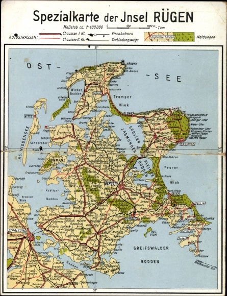 Ostsee Karte Rügen.Landkarten Klapp Ansichtskarte Postkarte Insel Rügen In Akpool De