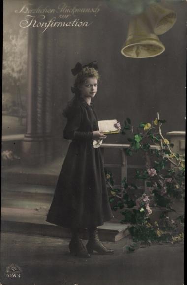 Postcard Glückwunsch Konfirmation, Mädchen Mit Bibel, Glocken, Blühende  Zweige