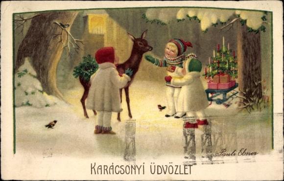 Frohe Weihnachten Ungarisch.Kunstler Ansichtskarte Postkarte Ebner Pauli Frohe