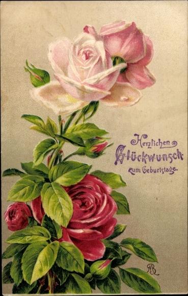 Embossed Postcard Glückwunsch Geburtstag Blumen Akpoolcouk