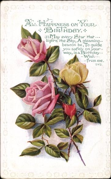 Präge Passepartout Ansichtskarte Postkarte Glückwunsch
