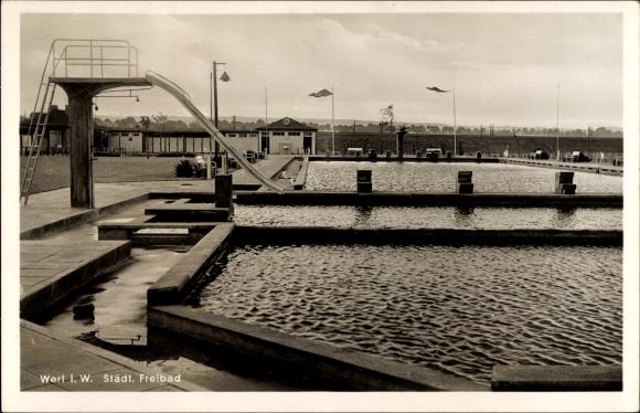 schwimmbad werl ansichtskarte postkarte im kreis soest nordrhein westfalen stadtisches freibad hallenbad werlte offnungszeiten
