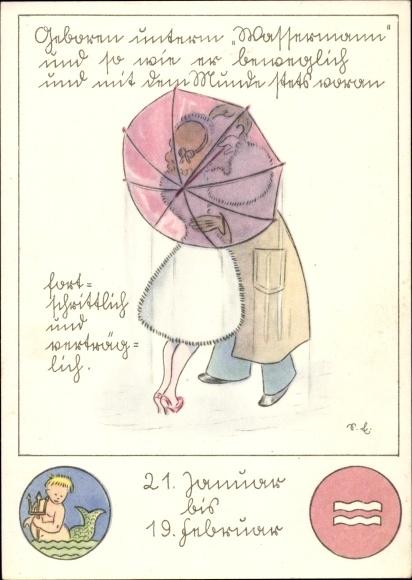 21 Januar Sternzeichen artist postcard sternzeichen wassermann, aquarius, 21. | akpool.co.uk