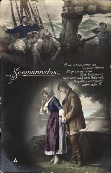 Gedicht Postcard Seemans Los Liebespaar Fischer Akpool