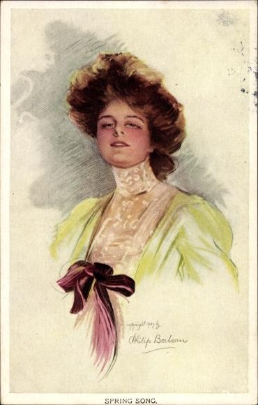 Artist Postcard Boileau Philip Spring Song Frisur