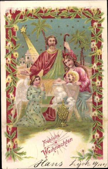 Frohe Weihnachten Familie.Embossed Postcard Frohe Weihnachten Heilige Familie Akpool Co Uk