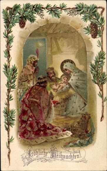 Frohe Weihnachten Familie.Chromo Litho Frohe Weihnachten Heilige Familie Akpool Co Uk
