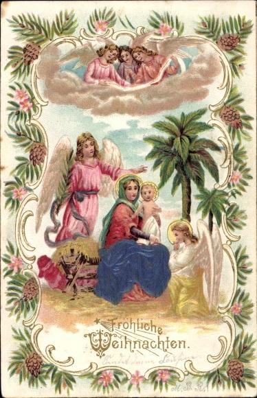 Frohe Weihnachten Familie.Präge Ansichtskarte Postkarte Frohe Weihnachten Heilige Akpool De