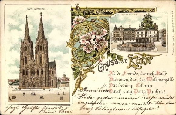 Litho Köln Am Rhein Westseite Vom Dom Porta Paphia Akpoolde