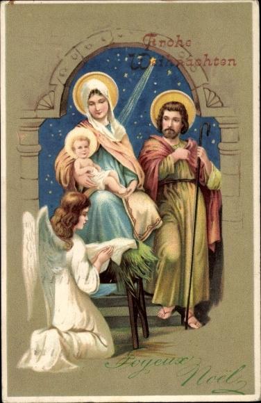 Frohe Weihnachten Jesus.Postcard Frohe Weihnachten Krippenszene Heilige Akpool Co Uk