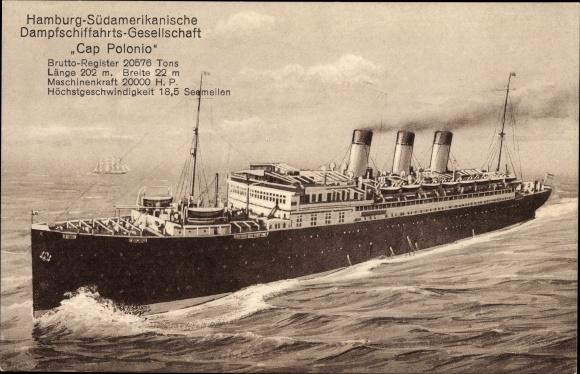 Postcard Dampfschiff Cap Polonio Hsdg Ansicht Akpool Co Uk